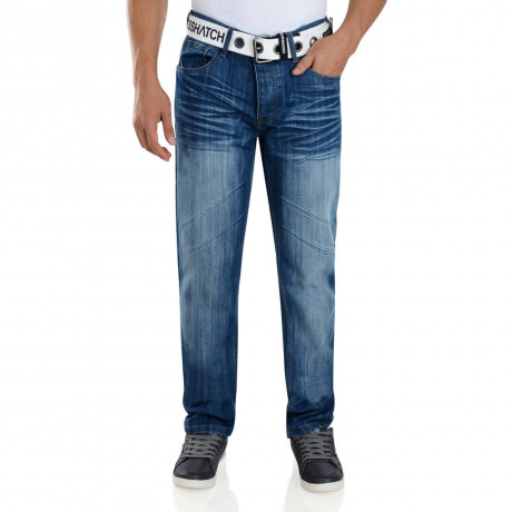Crosshatch Straight Fit Columbo Jeans Faded Stone Wash Image