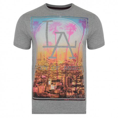 Soul Star Print T-shirt LA Grey Melange Image