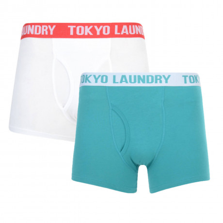 Tokyo Laundry 2 Pack Boxer Shorts Underwear White & Teal Blue Image