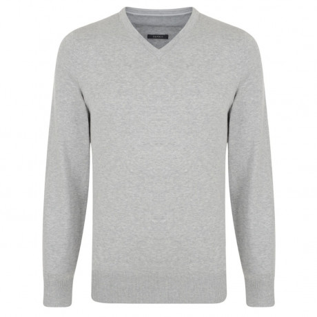 Esprit V-Neck Cotton Blend Jumper Grey Image