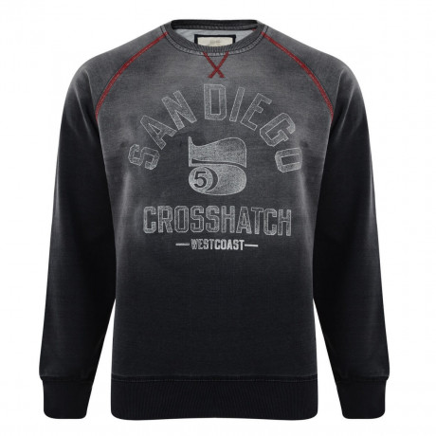 Crosshatch Crew Neck Faded Print Sweatshirt Grey Image