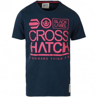 Crosshatch Printed Large Go Logo T-shirt Navy Blue Image