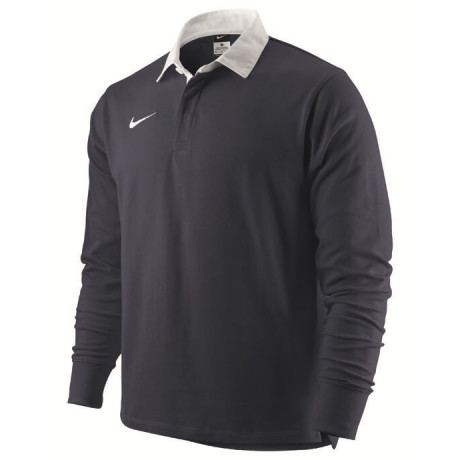 Nike Long Sleeve Cotton Rugby Shirt Navy Blue Jersey Top Image
