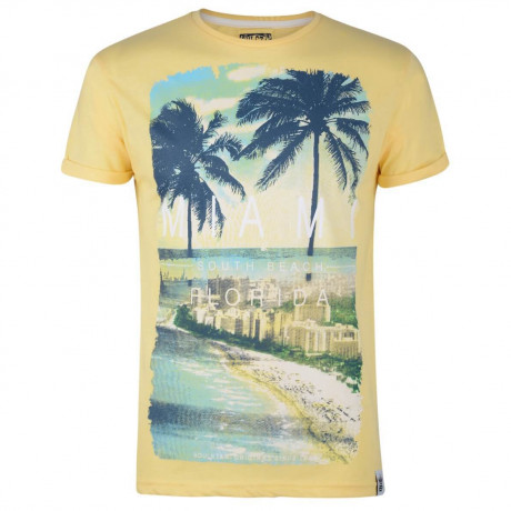 Soul Star Print T-shirt Miami South Beach Florida Yellow Image