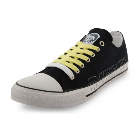 Diesel Mens Canvas Shoes Fashion Plimsolls Black Image