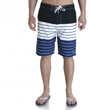 Smith & Jones Beach Swim Shorts & Flip Flop Set Stripe Navy Blue Image