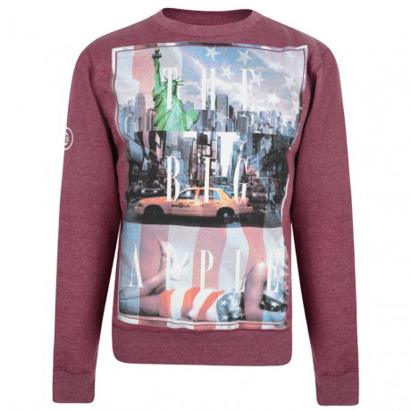 Conspiracy Print Sweatshirt NYC Big Apple Red Image
