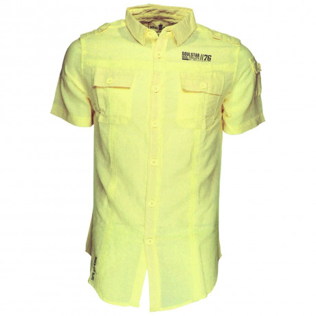 Soul Star Linen Cotton Short Sleeve Shirt Yellow Image