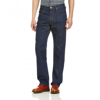 Lee Brooklyn Straight Denim Jeans One Wash Dark Blue Image