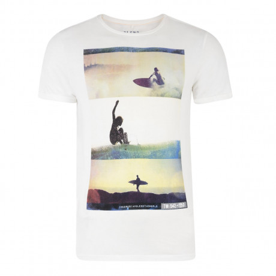 Blend Surf Beach Print T-shirt Beige Cream Image