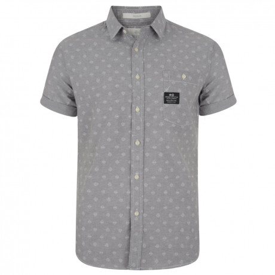 Crosshatch Print Shirt Short Sleeve Cotton Light Grey Image