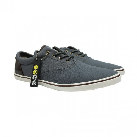 Crosshatch Mens Canvas Shoes Fashion Plimsolls Grey Image