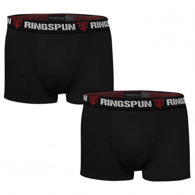 Ringspun 2 pack Underwear Boxer Shorts Black & Black Image