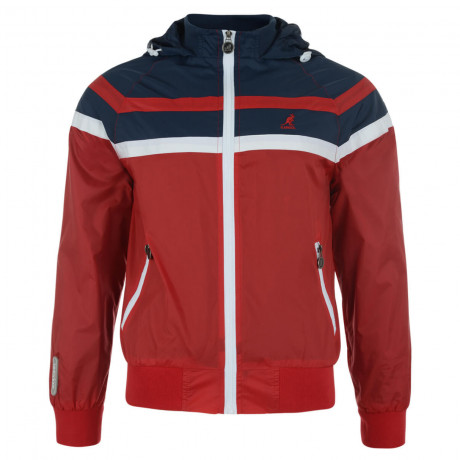 Kangol Hooded Track Jacket Red Navy Image