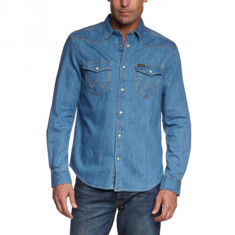 Wrangler Light Indigo Blue Denim Shirt Image