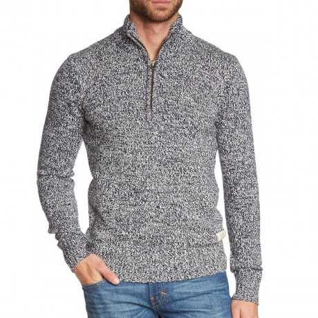 Blend Zip Neck Wool Mix Knit Pullover Navy Blue Image