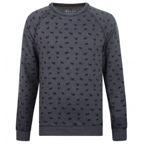 Blend Animal Print Sweatshirt Navy Blue Image
