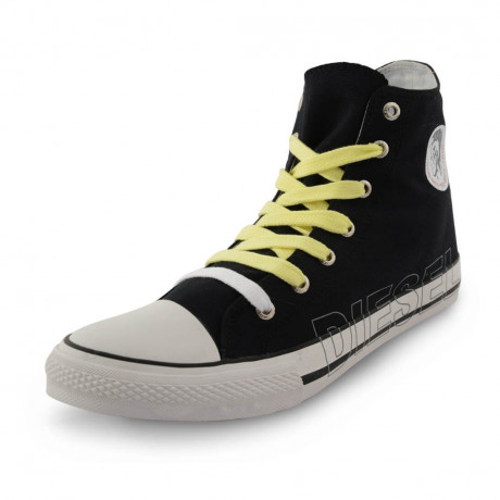 Diesel Mens High Top Canvas Fashion Shoes Black Image