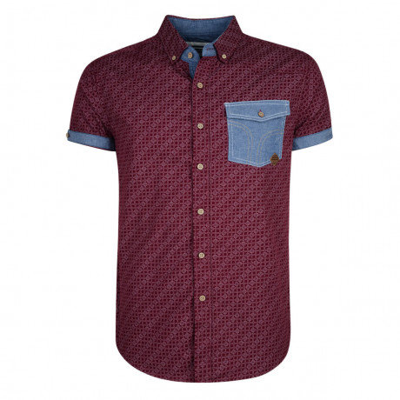 Smith & Jones Priviledge Pattern Shirt Short Sleeve Burgundy Image