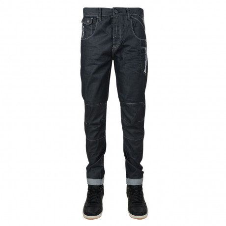 Rawcraft Tapered Fit Cargo Jeans Navy Coated Denim Image