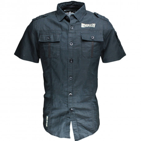 Soul Star Linen Cotton Short Sleeve Shirt Black Image