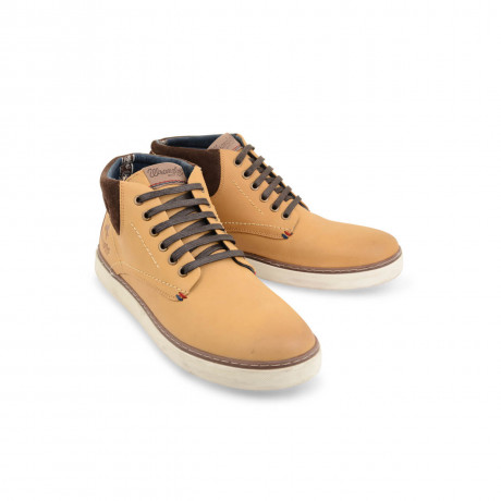 Wrangler High Leather Boots Beige Camel Shoes Image