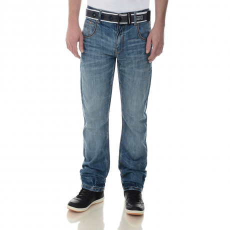 Crosshatch Straight Fit Trackero Jeans Faded Stone Wash Image
