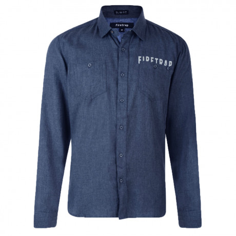 Firetrap Shirt Long Sleeve Plain Cotton Midnight Blue Image