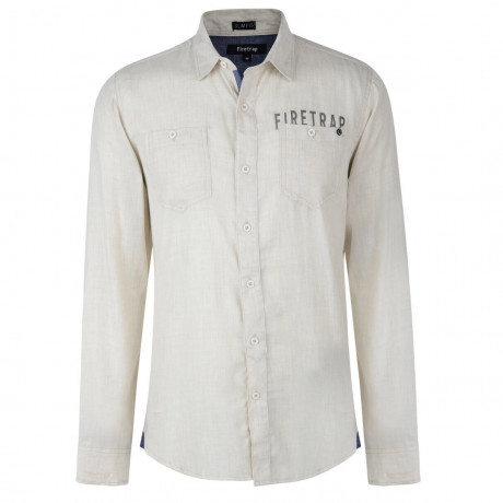 Firetrap Shirt Long Sleeve Plain Cotton Beige Ecru Image