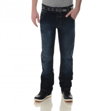 Crosshatch Straight Fit New Wak Jeans Faded Dark Wash Image