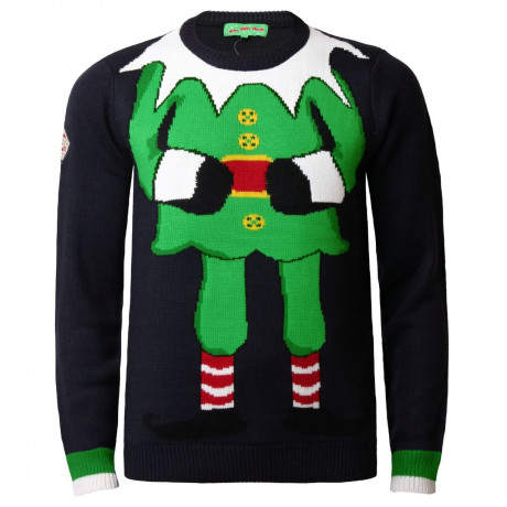 Xmas Jumper Crew Neck Christmas Knit Elf Navy Blue Image