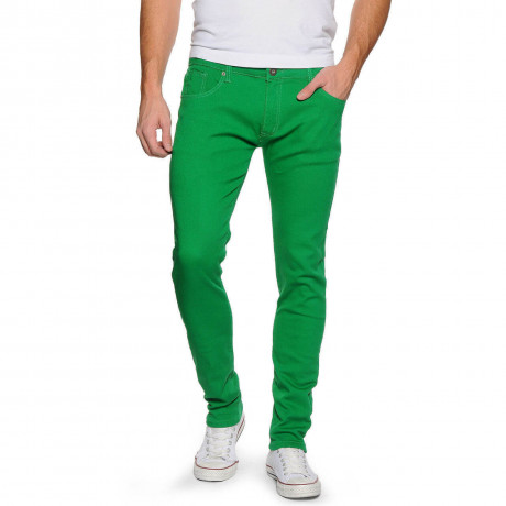 Soul Star Slim Tapered Skinny Fit Green Denim Jeans Image