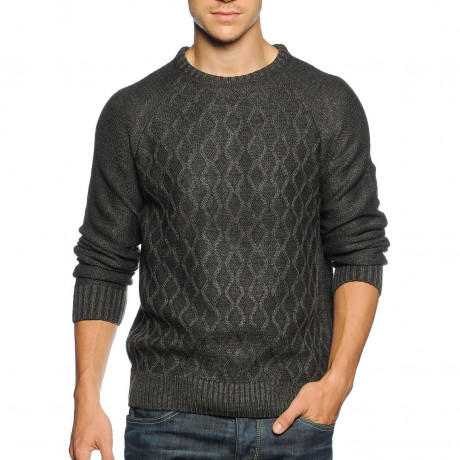 Soul Star Crew Neck Knitted Jumper Charcoal Melange Image