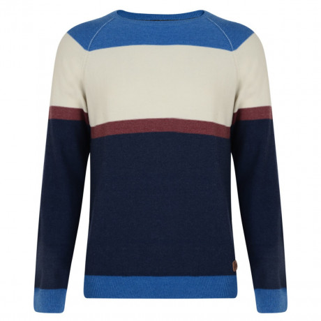 Smith & Jones Crew Neck Stripe Jumper Navy Blue Image