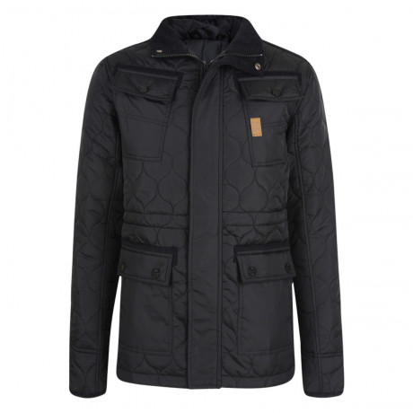 Crosshatch Slim Fit Quilted Jacket Black Image