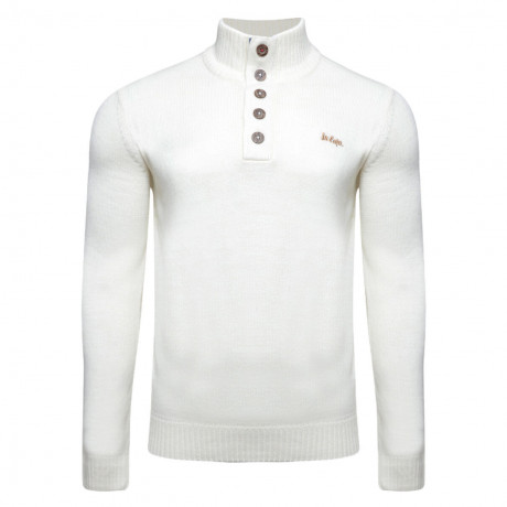 Lee Cooper Button Neck Argarton Knitted Jumper Ecru
