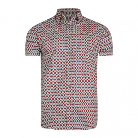 Lee Cooper Barling Nordic Pattern Shirt Short Sleeve Ecru | Jean Scene