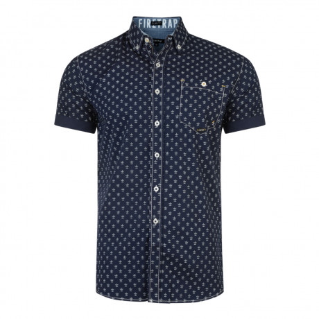 Firetrap Bulstrode Anchor Pattern Shirt Short Sleeve Midnight Blue | Jean Scene