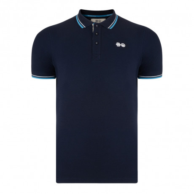 Crosshatch Downtalk Polo Pique T-Shirt Iris Navy | Jean Scene