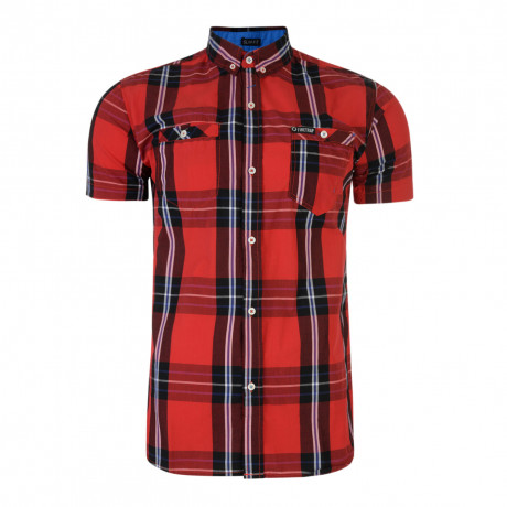 Firetrap Dunloe Check Shirt Short Sleeve Racing Red | Jean Scene