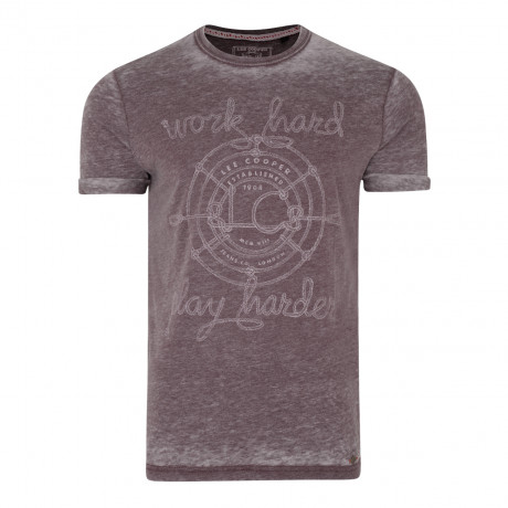 Lee Cooper Farway Crew Neck Cotton Printed T-shirt Blackberry | Jean Scene