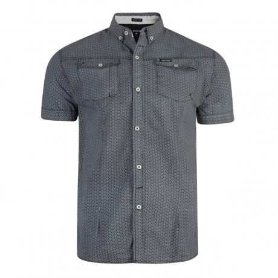 Firetrap Gorst Pattern Shirt Short Sleeve Nine Iron   Jean Scene