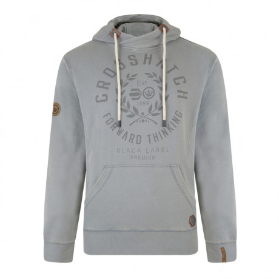 Crosshatch Men's Gisburn Logo Hooded Sweatshirt Grey Marl | Jean Scene