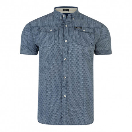 Firetrap Gorst Pattern Shirt Short Sleeve Navy Blue | Jean Scene