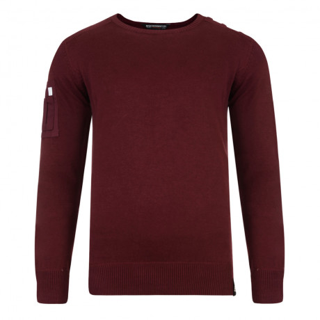 Crosshatch Hornsey Crew Neck Cotton Jumper Tawny Port