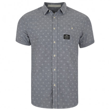 Crosshatch Print Shirt Short Sleeve Cotton Charcoal Image