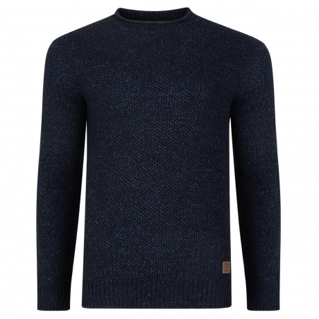 Threadbare Potter Crew Neck Wool Blend Jumper Denim Navy