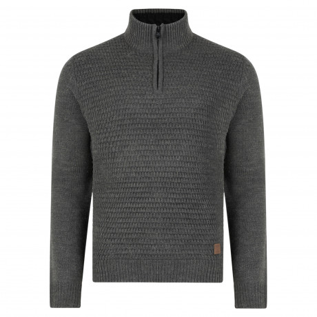 Threadbare Redford Zip Neck Wool Blend Jumper Charcoal Marl | Jean Scene