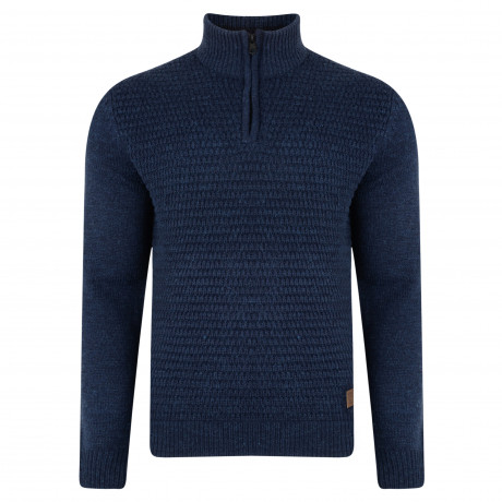 Threadbare Redford Zip Neck Wool Blend Jumper Indigo Marl | Jean Scene