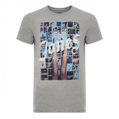 Jack & Jones Originals Crew Neck S4 Print T-shirt Light Grey Melange | Jean Scene
